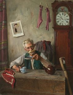 'Teatime'  1911 Painting by Charles Spencelayh,  English, 1865 - 1958