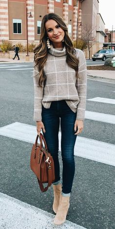 #winter #outfits gray turtle-neck sweater. Click To Shop This Look.