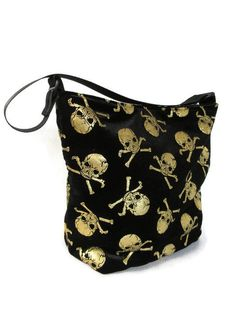 Excited to share this item from my #etsy shop: ready to ship, Shoulder bag, crushed velvet with gold skulls and bones