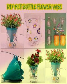 DIY Pet Bottle Flower Vase - couldn't find actual tutorial, but image pretty much shows it all.