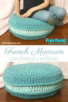 Crocheted Macaron Cushion made with bulky weight yarn and a foam tuffet