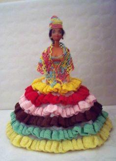 Défi Créations 2016 : Couleurs Caraïbes (14) Barbie, Crochet, Creations, Birthday Cake, Colors, Dress, Birthday Cakes, Crochet Crop Top, Chrochet