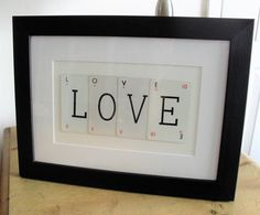 RETRO PLAYING CARD Picture 'Love' Made from Vintage Playing Cards Mid-Century Decor Wide Black Frame to Hang or Stand Wedding Day Decor/Gift by BigGirlSmallWorld on Etsy