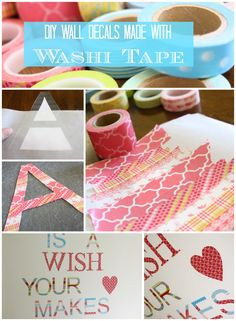 A detailed tutorial for how to create your own washi tape wall decals! One of the best washi tape ideas out there! Washi Tape Wall, Washi Tape Crafts, Diy Wall Art, Diy Art, Fun Crafts, Paper Crafts, Do It Yourself Home, My New Room, Just In Case