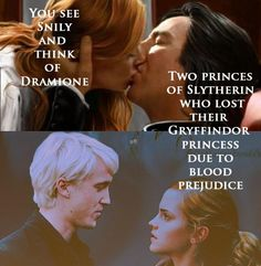 I don't ship Dramione, but I do ship Snape and Lily considering that James Potter seemed like a douche in Hogwarts.