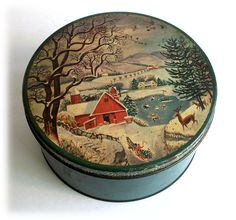 Fruitcakes came in tins just like this---vintage Christmas tins - Google Search