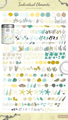 Julia Khimich Design. Big set of sea illustrations «Mermaid Song». It includes beautiful arrangements: bouquets, wreaths, borders, frames, patterns and also a big bunch of individual elements in vector and raster format.