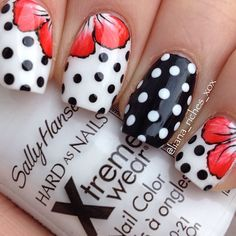 Black white polka dot nail art dot dot, red nails, hair and nails Get Nails, Fancy Nails, Pretty Nails, Dot Nail Art, Polka Dot Nails, Polka Dots, Pretty Nail Designs, Nail Art Designs, Awesome Designs