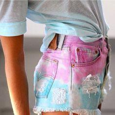 Tie dye high waste shorts