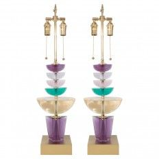 Pair of colorful geometric form resin lamps