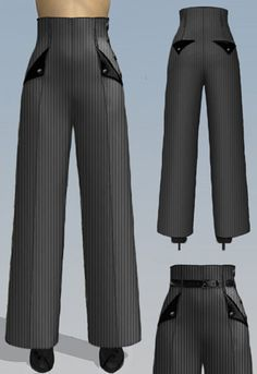Retro Navigator Side Button Pants by Amber Middaugh