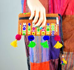 Multicolored pom pom clutch bag,Sindhi embroidery bag,Handmade bags,Clutches,Evening bags,Banjara bags,Vintage Fabric bags,Pouches,Handbags by ZsTribalTreasures on Etsy