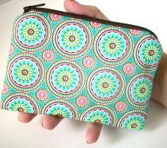 Aqua Pinwheels Little Zipper Pouch ECO Friendly Padded by JPATPURSES on Etsy, $8.00