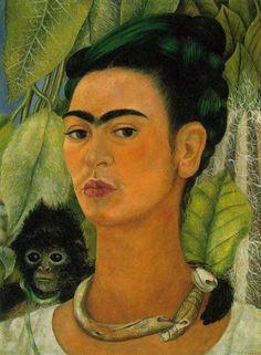 Self Portrait with a Monkey, 1938 by Frida Kahlo. Naïve Art (Primitivism). self-portrait. Albright-Knox Art Gallery, Buffalo, NY, USA