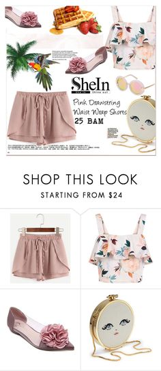 """""""Pink Drawstring Waist Wrap Shorts"""" by pavicmartina ❤ liked on Polyvore featuring New Look and twenty2"""