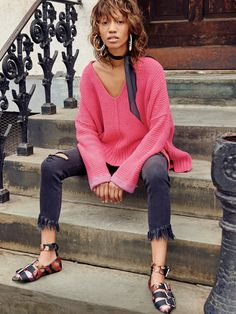 Pink Passon Take Me Over V-Neck Sweater at Free People Clothing Boutique