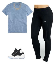 """feeling blue"" by loverswag ❤ liked on Polyvore featuring NIKE, Polo Ralph Lauren, House of Harlow 1960 and Retrò"