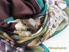 Hand Painted Silk Scarf Water Lilies Orchids scarf Batik Silk Painting Handpainted Satin Chiffon scarf Women Gift for Her Luxurious scarf by FilkinaScarves on Etsy Luxurious Floral Silk Satin Chiffon scarf  The fabric is 100% Natural Silk Satin Chiffon  Silk Satin Chiffon is a delightful light weight soft to touch semi-sheer chiffon silk with an elegant satin finish on one side. Satin Chiffon is smooth and silky to the touch and the lightweight material offers a fluidity in movement.