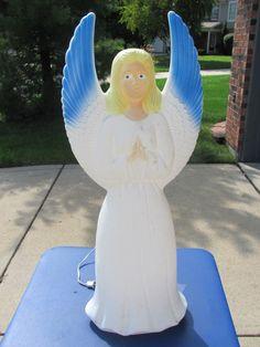 "32"" Union Blue Winged Angel Xmas Blowmold Light UP Plastic Outdoor VTG Decor   eBay"