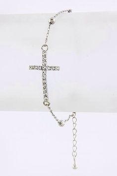 Silver Crystal Side Cross Bracelet