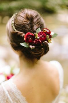Flower crown updo on Mountainside Bride