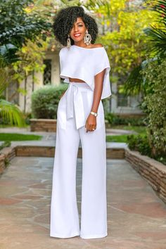 Style Pantry | Side Slit Crop Top + High Waist Belted Pants