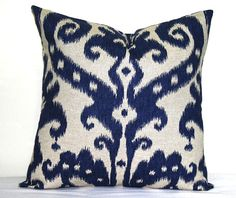 decorative navy blue ikat pillow 18 x 18 inch indigo throw pillow cushion