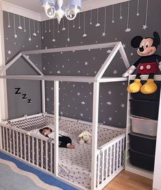 Toddler Floor Bed - perfect for wriggly little ones, so they can't fall out! We love the grey and white colour scheme and constellation of friendly little stars in this room too. Baby Bedroom, Baby Room Decor, Girls Bedroom, Bedroom Decor, Bedroom Lighting, Bedroom Modern, Ikea Baby Room, Ikea Kids Bedroom, Bedroom Chandeliers