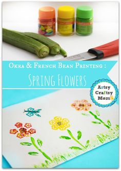 Vegetable Prints : Making Spring flowers with Okra & Beans + Okra French bean printing spring flower + Vegetable Printing with ladies finger and beans Painting with Okra How to Paint With Fruit and Vegetables Fruit and vegetable printing Block Printing activities for kids