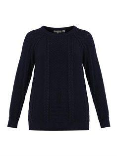 Aran-knit navy wool sweater | Chinti and Parker | MATCHESFASHI...