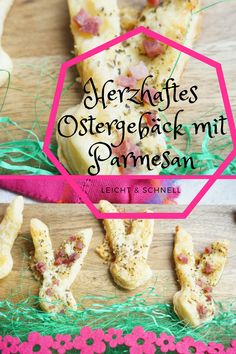 Homemade puff pastry bunnies with parmesan for Easter - Ostern Parmesan, Baking With Kids, Baby Led Weaning, Easter Cookies, Bacon, Bunny, Homemade, Cooking, Breakfast