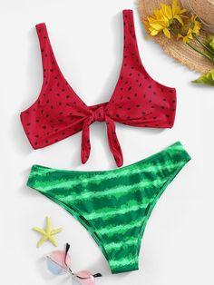Shop Watermelon Print Knot Front Top With Panty Bikini online. SHEIN offers Watermelon Print Knot Front Top With Panty Bikini & more to fit your fashionable needs. High Leg Bikini, Bikini Set, Bikini Swimwear, Women's Bikinis, Bikini Dress, Bikini Outfits, Mode Du Bikini, Knot Front Top, Cute Swimsuits