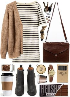 Untitled by hanaglatison featuring faux-leather handbags Pull Bear cardigan, $9.57 / Jeffrey Campbell black boots / Faux leather handbag, $46 / Infinite bracelet watch, $19 / Jayson Home Box of Chalk...