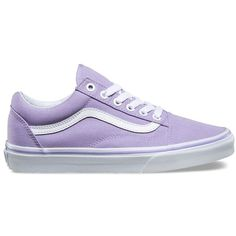 Vans Old Skool ($55) ❤ liked on Polyvore featuring shoes, sneakers, purple, vans shoes, low profile shoes, lacing sneakers, low top skate shoes and toe cap shoes