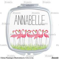 Cuban Flamingos Illustration Compact Mirror @zazzle #junkydotcom June 8 2016