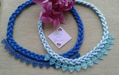 Blue cord necklace