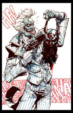 Joker on a Tuesday. by *Chuckdee on deviantART - ouch bad luck for Sam Winchester- Comic Book Artists, Comic Artist, Comic Books Art, Joker Art, Batman Art, Joker Drawings, Batman Arkham, Joker Batman, Batman Universe