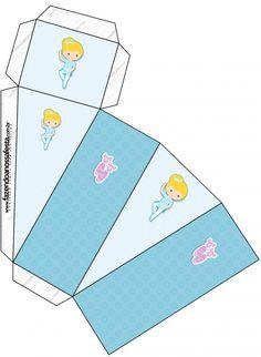 Caixa Fatia Bailarina Loira Poá Azul:
