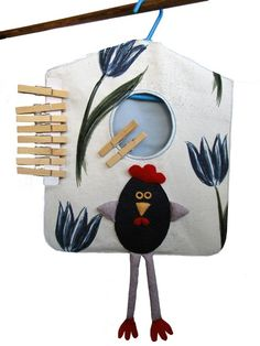 Funny Chicken Clothespin Bag