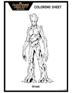 Guardians Of The Galaxy Groot Coloring Sheet