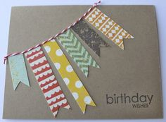 Handmade Birthday Wishes Banner Card Male by TuesdayNightDesigns, $3.50