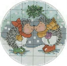 Christmas cross-stitching. hedgehog