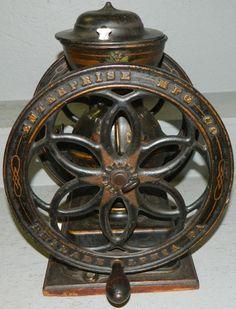 Two wheel coffee grinder by Enterprise.
