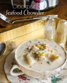 Warm up this winter with a delicious seafood chowder made in the crock pot!  with Four Generations One Roof