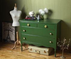 Green Dresser: kelly green dresser with floral knobs
