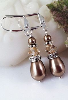 New w/Swarovski Golden Shadow Crystal/Bronze Pearl Teardrop Dangle Earrings