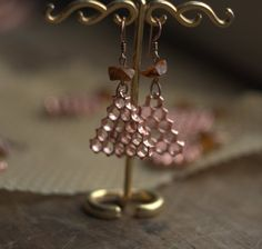 Earrings from real honeycomb covered with copper and by Galvanart
