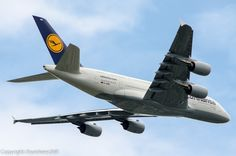 A photo of a Lufthansa Airbus airplane low overhead in New York (JFK / KJFK). The aircraft registration is D-AIMH Jumbo Jet, Passenger Aircraft, Airbus A380, Jfk, Spacecraft, 2000s, Airplanes, Life, Aviation