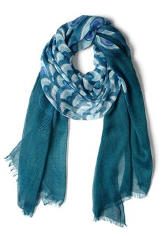 Time Stands Teal Scarf. This afternoon youre lounging on a floral throw blanket in the park, catching up on your poetry reading. #blue #modcloth