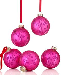 Holiday Lane Christmas Ornaments, Set of 5 Pink Arabesque Pattern - Holiday Lane - Macy's Pink Christmas Ornaments, Christmas Music, Christmas Wishes, Christmas Balls, Christmas Colors, Red Christmas, Christmas Themes, Christmas Decorations, Arabesque Pattern